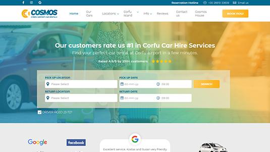 Η Ιστοσελίδα του Corfu Airport Car Rentals σχεδιάστηκε και κατασκευάστικε από την go cars